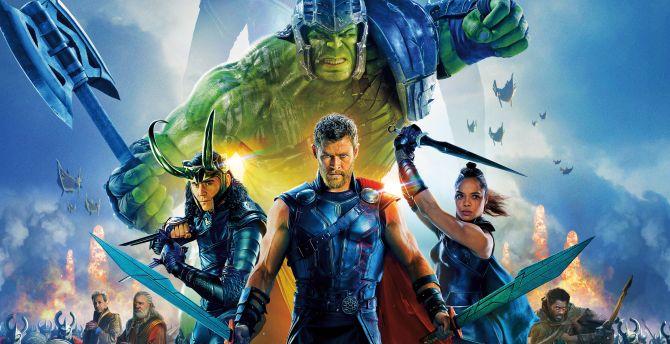 Thor: Ragnarok, movie, poster, cast, 2017 wallpaper