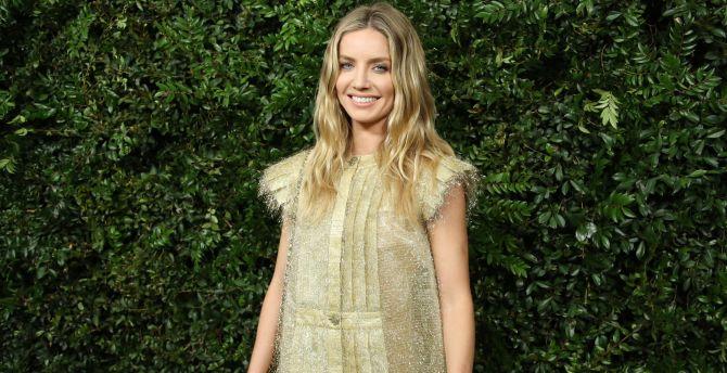 Annabelle Wallis, golden dress, smile wallpaper