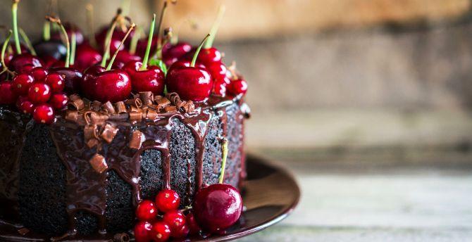 Cherries, chocolate, cake, food wallpaper