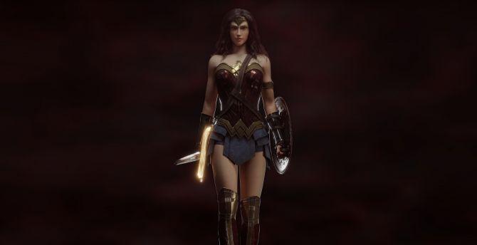 Desktop Wallpaper Hot Wonder Woman Art Hd Image Picture