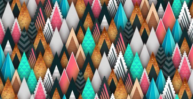 Triangles, abstract, digital art wallpaper