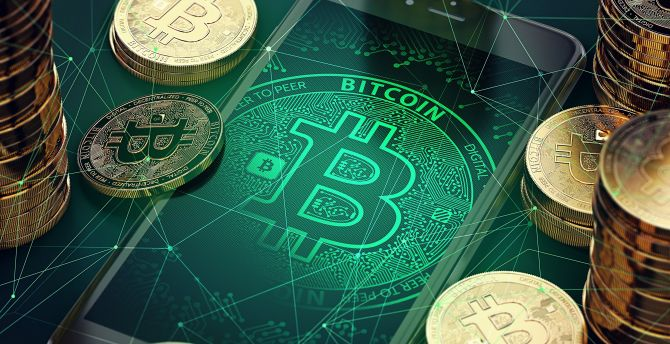 Bitcoin, abstract, crypto-currency wallpaper