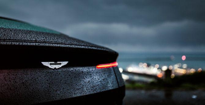 Desktop Wallpaper Aston Martin Db11 Drops Rain Rear Taillight Hd Image Picture Background 4c06c4