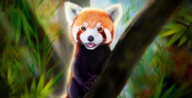 Desktop Wallpaper Cute Red Panda Art Hd Image Picture Background 4d1aaf