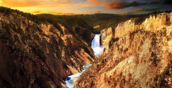 Yellowstone Falls, Grand Canyon of the Yellowstone, Yellowstone national park, sunset wallpaper