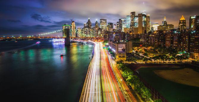 Road, lights, new york, buildings, cityscape wallpaper