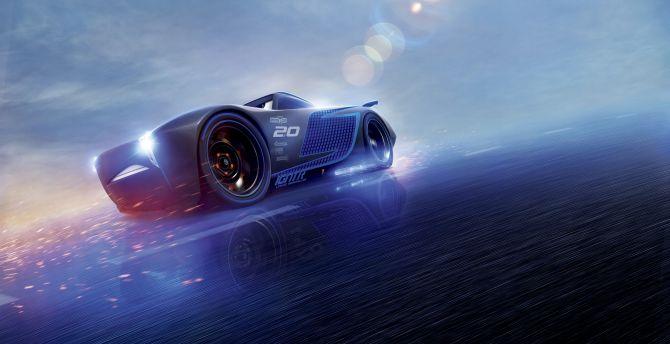 Desktop Wallpaper Cars 3 Blue Jackson Storm Animation Movie Hd