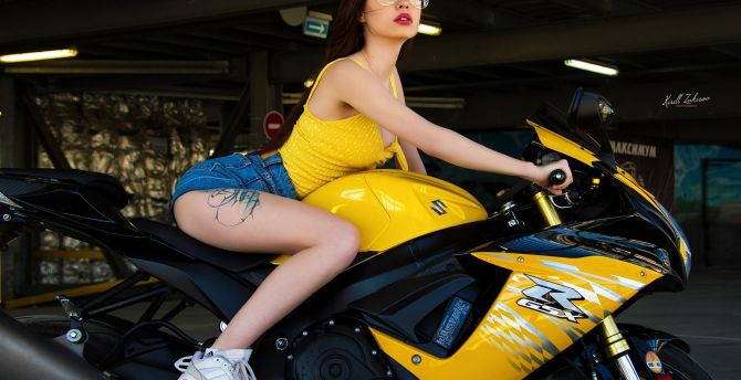 Bike and woman, sports bike, short jeans wallpaper