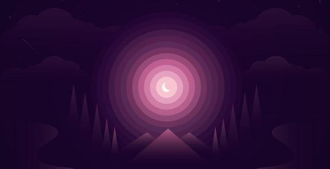 Forest, gradient, half moon, nightscape, mountains, minimal wallpaper