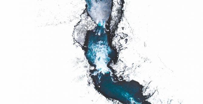 Iceland, river, aerial view wallpaper