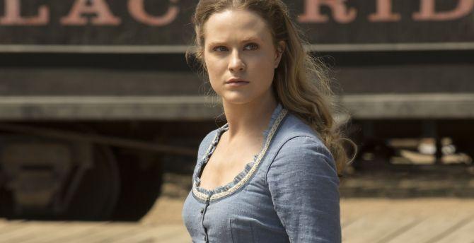 Actress, blue dress, Evan Rachel Wood, Westworld wallpaper