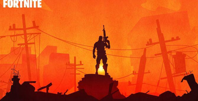 Fortnite, silhouette, video game, soldier wallpaper