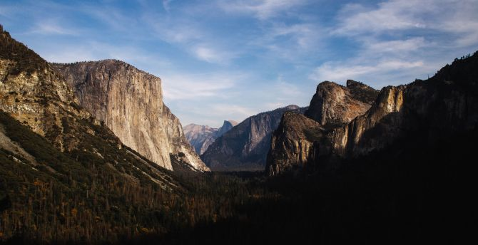 Yosemite, national park, mountains, trees, valley, forest wallpaper