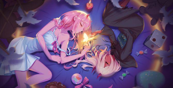 Desktop wallpaper zero two, relaxed, anime girls, lying down, hd