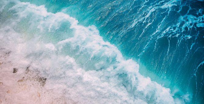 Desktop Wallpaper Ocean Blue Waves Aerial View Hd Image Picture Background 58104e