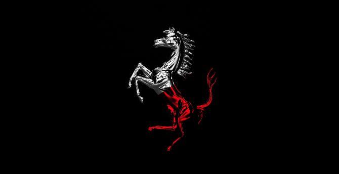 Desktop Wallpaper Horse Ferrari Logo Minimal Hd Image Picture Background 58ee22