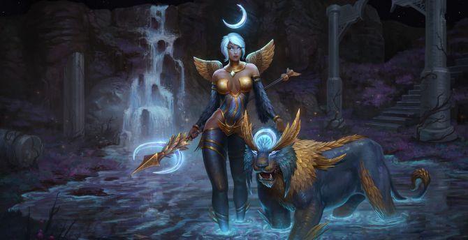 Awilix, Smite, lion creature, fantasy, video game wallpaper