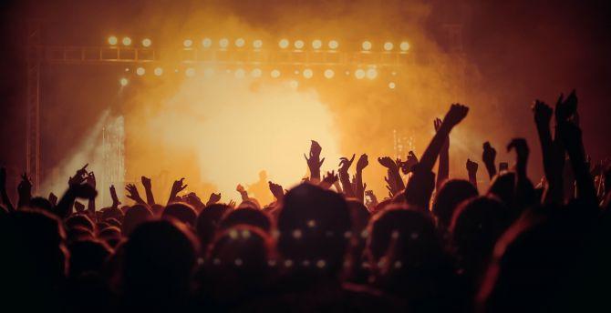 Concert, hands up, joy, dark, party wallpaper