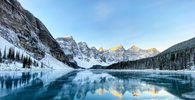 Desktop Wallpaper Moraine Lake Nature Reflections Forest