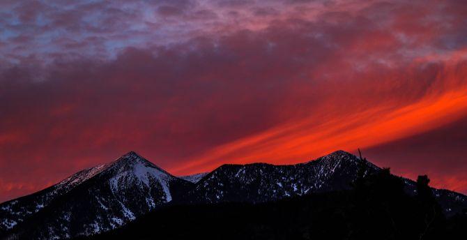 Mountains, sunset, sky, snow mountains wallpaper