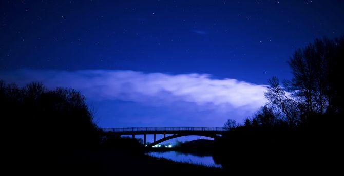 Bridge, clouds, night, trees, sky wallpaper