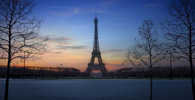 Eiffel tower, Paris, city, architecture, sunset wallpaper
