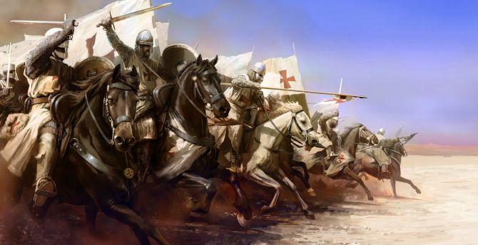Knight, warrior, templar, fight art wallpaper