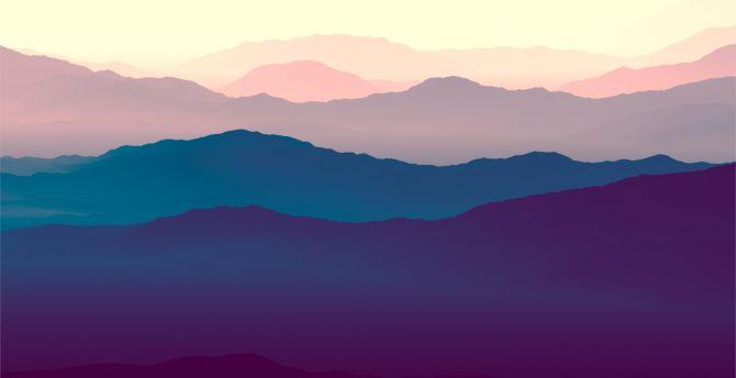 Mountains, landscape, purple sunset, gradient, horizon wallpaper