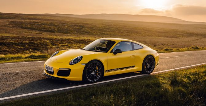 Desktop Wallpaper Yellow Porsche 911 Carrera T Outdoor Side View Hd Image Picture Background 5e3b8a Porsche 911 carrera t coupe 2018 4k
