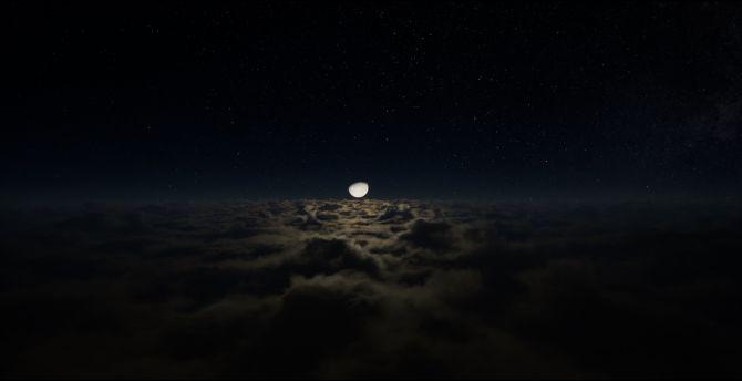 Desktop Wallpaper Half Moon Clouds Dark Night Hd Image Picture Background 5f03d5