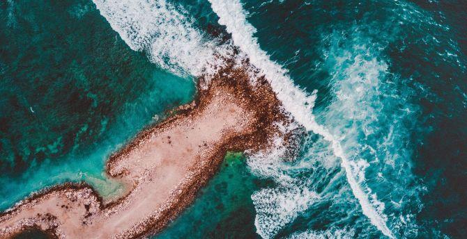 Coast, tide, sea waves, aerial view, sea wallpaper