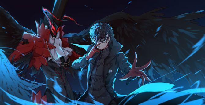 Desktop Wallpaper Akira Kurusu Anime Persona 5 Art Hd Image Picture Background 605066