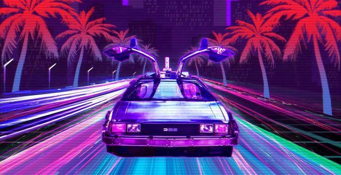 Desktop Wallpaper Retro Lux Cars Outdrive Retrowave Hd Image Picture Background 62c431