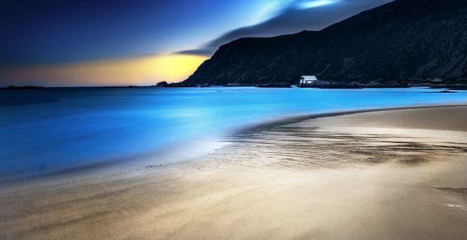 Night, blue sea, beach, mountains, nature wallpaper