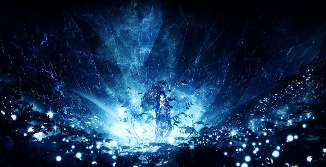 anime girl, outdoor, night, original wallpaper