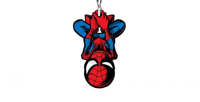 Desktop Wallpaper Spider Man Illustration Minimalist Hang