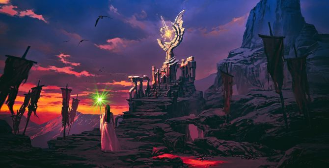Fantasy, cliffs, sunset, artwork wallpaper