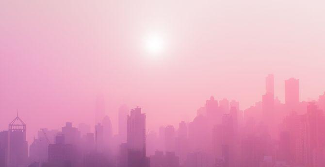 Urban, skyscrapers, buildings, sunny day, pink smog wallpaper