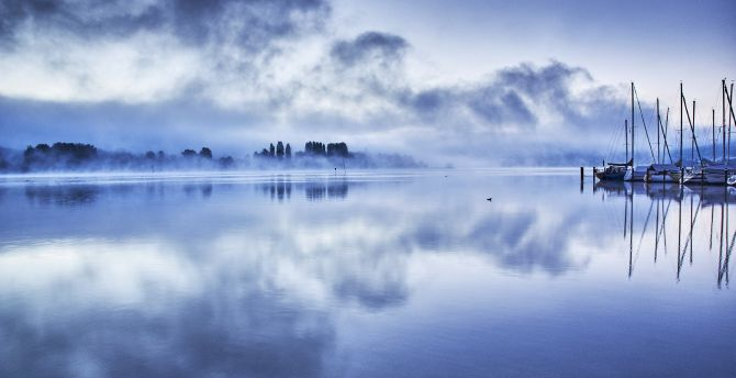 Blue sky clouds harbour
