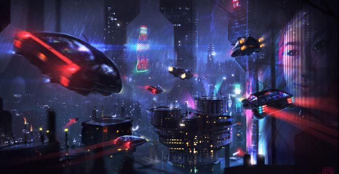 Desktop Wallpaper Cyberpunk Dark Cityscape Buildings Art Hd Image Picture Background 6930f0