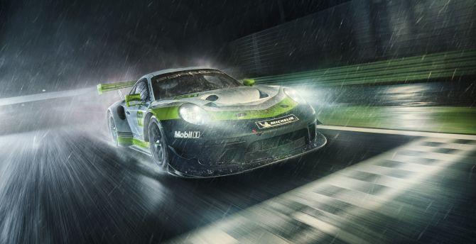 Porsche 911 GT3 R, rain blur, sports car, 2018 wallpaper