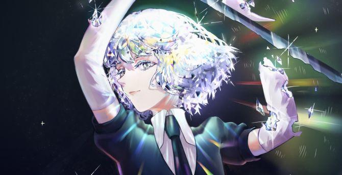 Desktop Wallpaper Diamond, Houseki No Kuni, Arms Up, Sword