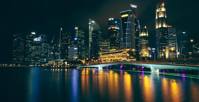 City Night Buildings Reflections Wallpaper