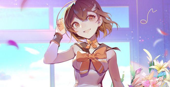 Mood, happy, anime girl, cute, original wallpaper