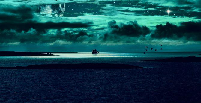 Clouds Body Of Water Sea Night Fantasy Wallpaper