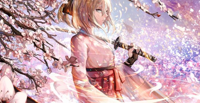 desktop wallpaper sakura saber katana cherry blossom