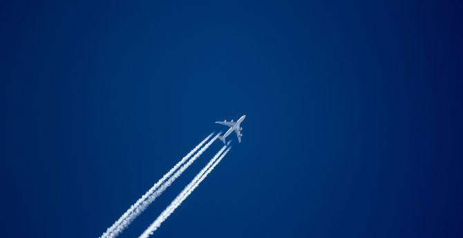 Aircraft, sky, smoke trails, minimal wallpaper