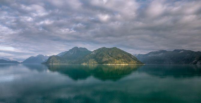 Alaska Mountains Lake Clouds Wallpaper