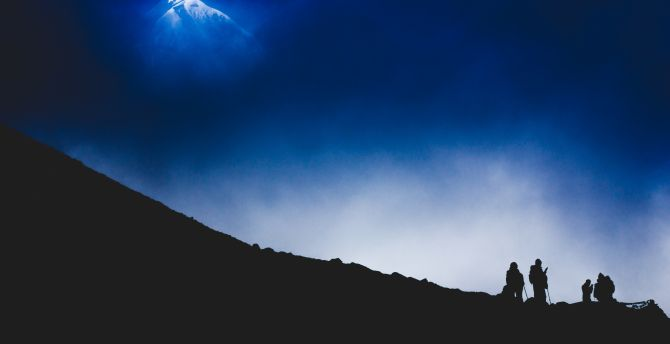 Himalayas mountains night climbing