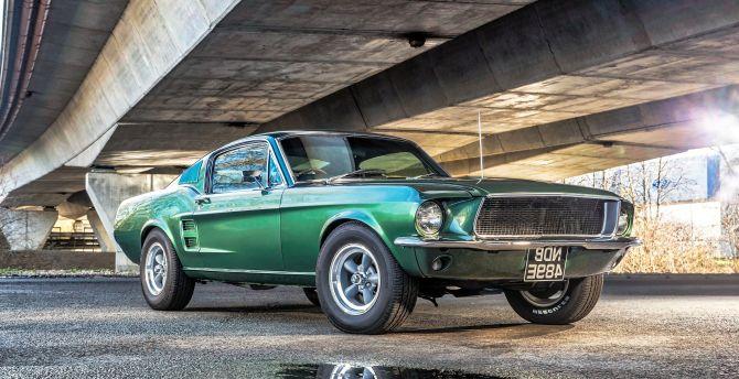 Desktop Wallpaper Green Muscle Car Ford Mustang Classic